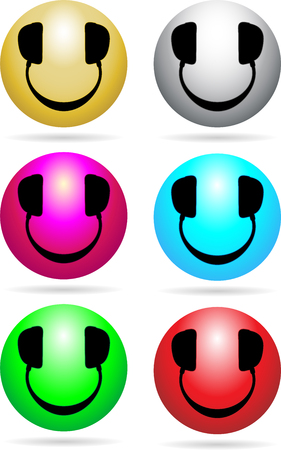 Glossy Smiley icons with headphones in place of eyes and mouth Vector