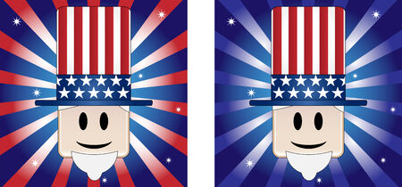 Uncle Sam Background with Stars and Stripe in american flag colors Vector