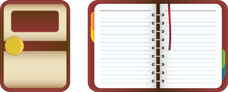 Leather organizernotebook with colored tabs. Add your text
