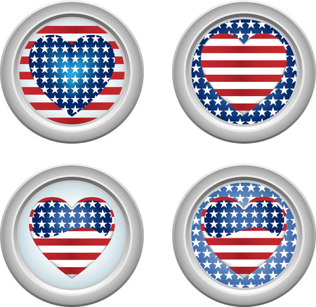 USA Stars and Stripes Buttons Fourth of July Vector