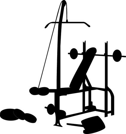 weightlifting equipment: Gym Equipment Silhouette Aislado en Blanco