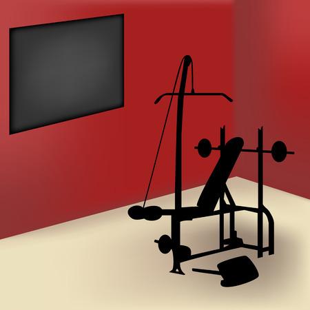 board room: Equipo de gimnasio en habitaci�n roja con placa de anuncio