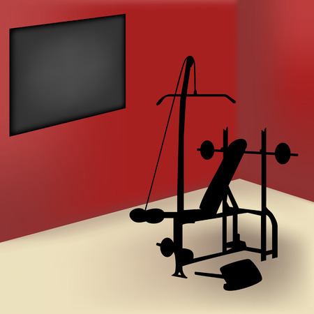 gym room: Gym equipment in red room with board for announce Illustration