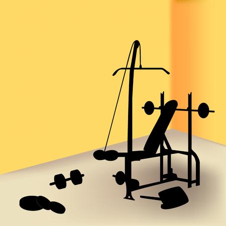 gym equipment: Attrezzature ginniche in camera gialla  Vettoriali
