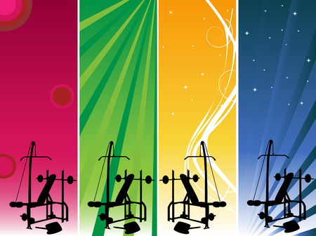 4 banners to be used for your gym announce Stock Vector - 5052491