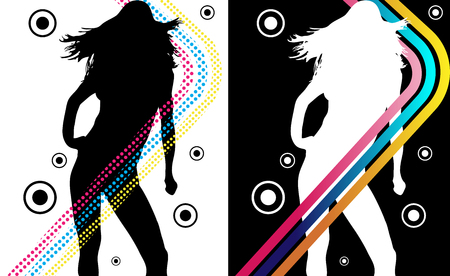 Music Funky Retro Girl Silhouette with Stripes Vector