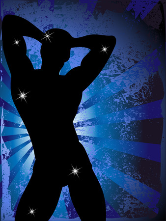 arm muskeln: Grunge Hintergrund mit Party Boy Silhouette mit Sterne