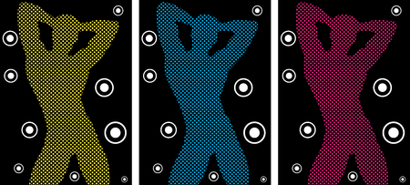 shirtless: Music Funky Retro Boy Silhouette with Dots