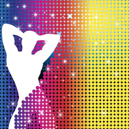gay: Grunge Hintergrund mit Party Boy Silhouette mit Sterne