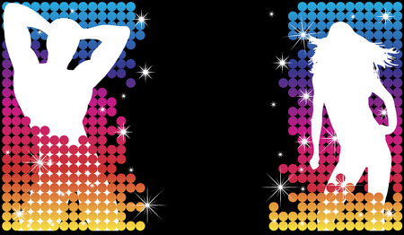 sexy gay: Grunge Background with Party Couple Silhouette with Stars