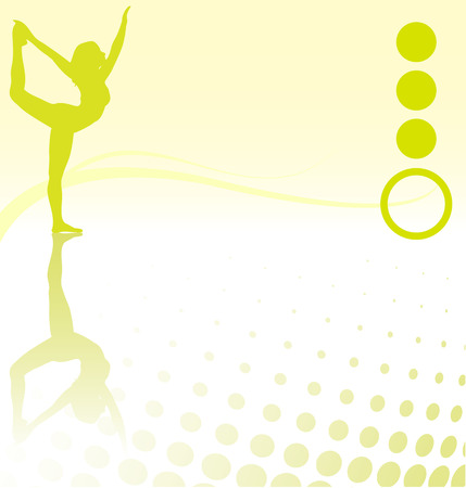 Woman doing yoga exercise on green and beige template Vector