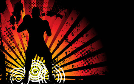 muscular male: Boxer Man Silhouette with Yellow and Orange lightning