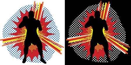 Boxer Silhouette over Pop Art Explosion Background Vector