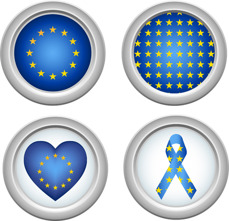 European Union Buttons with heart, flag and ribbon Vector