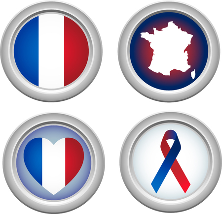 France Buttons for 14 of July Stock Vector - 5150324