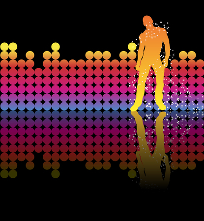 sexy gay: Sexy boy dancing on a rainbow background Illustration