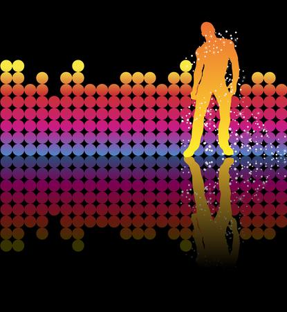 hombres gays: Sexy chico bailando sobre un arco iris de fondo