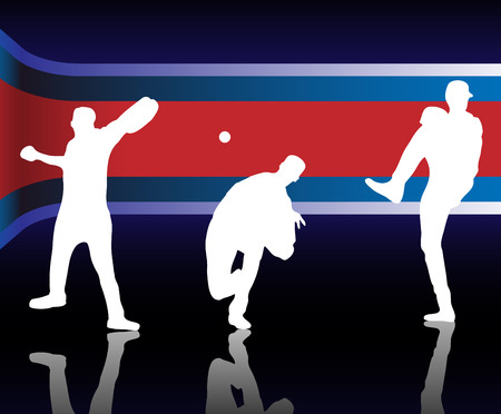 outfield: Baseballer  Silhouette with United States of America Background