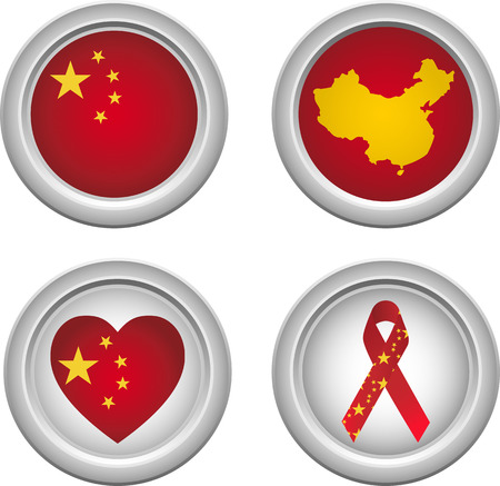 Chinese Buttons with ribbon, heart, map and flag Stock Vector - 5192236