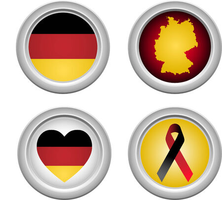 Germany Buttons with ribbon, heart, map and flag Stock Vector - 5192228