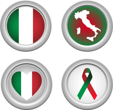 Italy Buttons with ribbon, heart, map and flag Stock Vector - 5192229