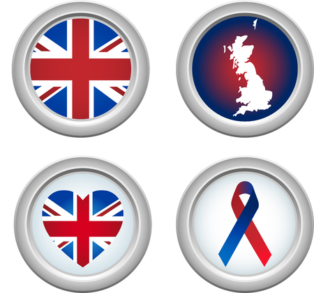 United Kingdom Buttons with ribbon, heart, map and flag Stock Vector - 5192232