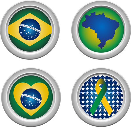Brazil Buttons with ribbon, heart, map and flag Vector