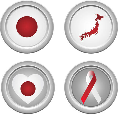 Japan Buttons with ribbon, heart, map and flag Stock Vector - 5192231