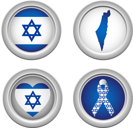 Israel Buttons with ribbon, heart, map and flag Vector
