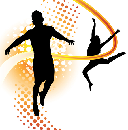 Boy and girl silhouettes dancing and jumping Vector