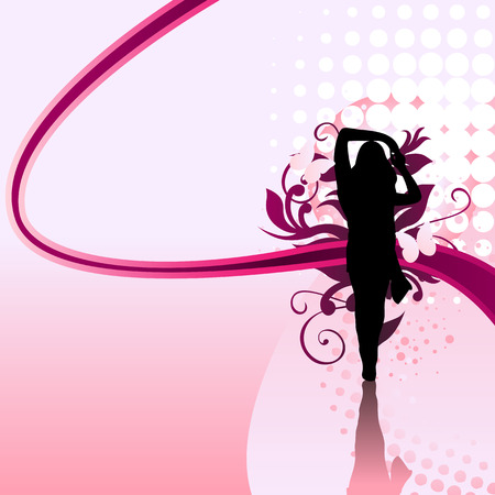 Beautiful girl silhouette with pink swirls and dots Vector