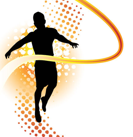 Runner passes finish line Stock Vector - 5225683
