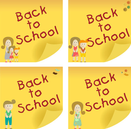 Back to School yellow sticker note. Add your message. Vector