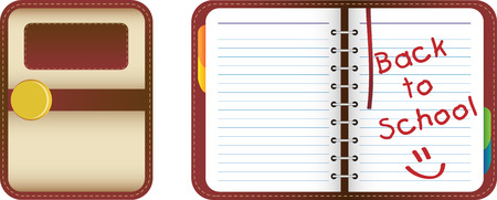 Leather organizernotebook with colored tabs. Back to School Vector