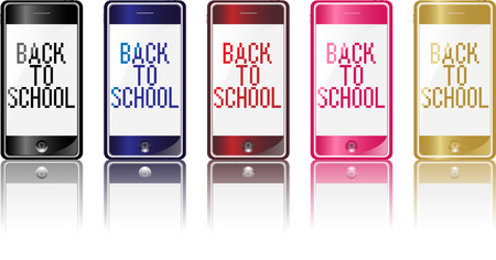 Set of 5 different colors modern phones with back to school message Vector