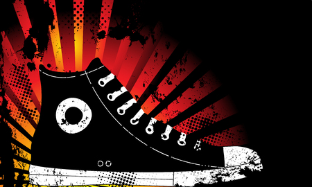 Sneaker Silhouette with Yellow and Orange grunge background Vector