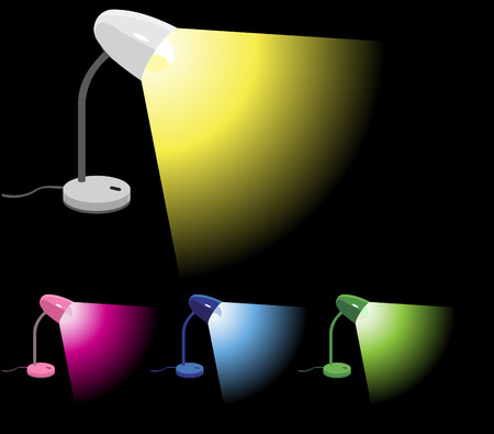 Set of 4 different colors desk lamps illustrations Stock Vector - 5260637