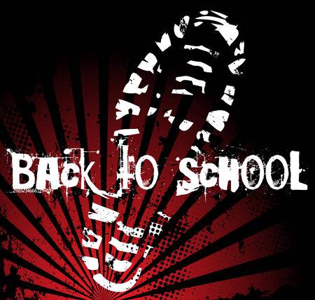 Back to School Schuhsohle Grunge Print Vektorgrafik