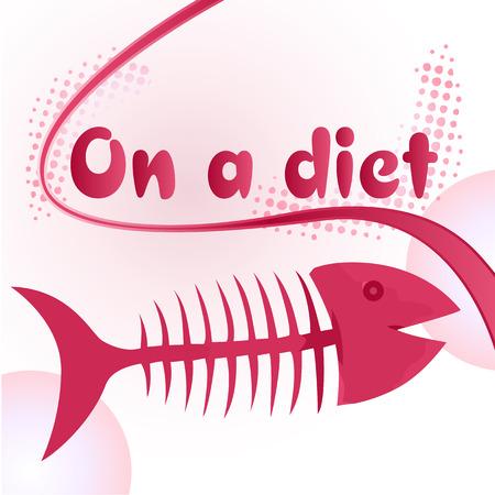 poisson rigolo: Le signe avec un r�gime alimentaire des poissons osseux funny illustration