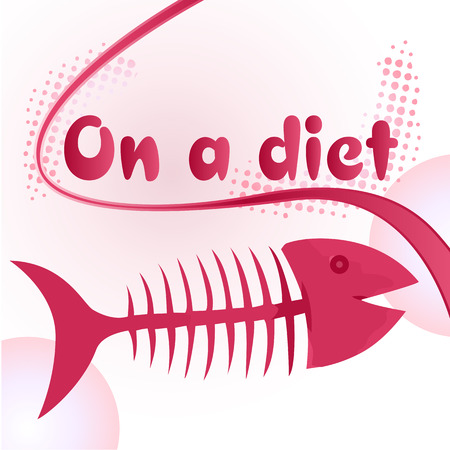 starving: On a diet sign with funny fish bone illustration