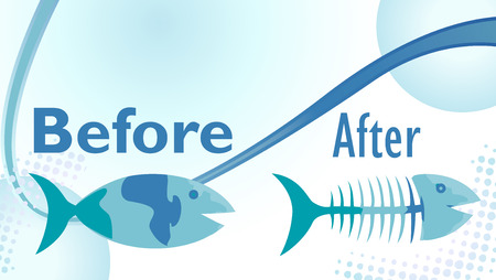 starving: On a diet sign with funny before and after fish illustration Illustration
