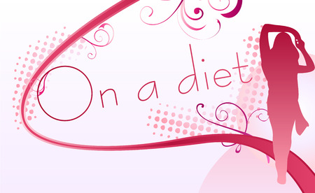 Girl silhouette over an on a diet sign Vector