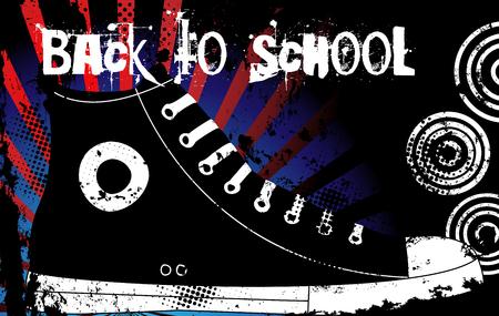 zapatos escolares: Regreso a la Escuela Sneaker con Estados Unidos de Am�rica Antecedentes Vectores