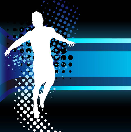 Boy silhouette on beautiful neon blue background Vector