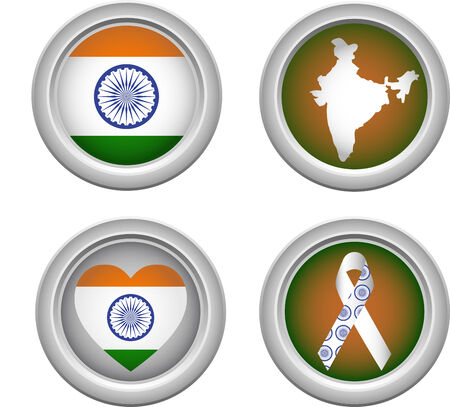 India Buttons with ribbon, heart, map and flag Vector