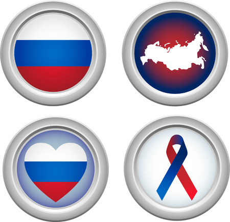 Russia buttons with map, flag, ribbon and heart Stock Vector - 5290097
