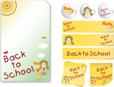 Set of Back to School with note, sticker Vector
