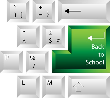 Creative keyboard with back to school key on return Stock Vector - 5326466