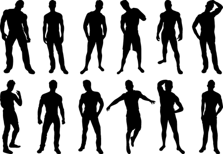 Set of 12 sexy men silhouettes on white background Vector