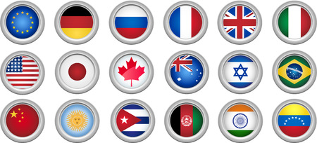Set of 18 buttons for several countries Vector